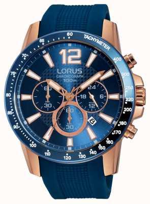 Lorus Mens blau Silikonband Roségold RT392EX9