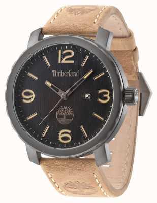 Timberland Mens pinkerton braunes Lederband Zifferblatt schwarz 14399XSU/02