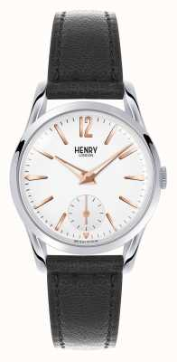 Henry London Highgate schwarzes Lederband weißes Zifferblatt HL30-US-0001