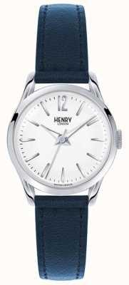 Henry London Knightsbridge blaues Lederband weißes Zifferblatt HL25-S-0027