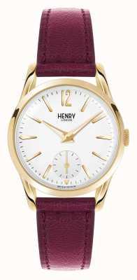 Henry London Holborn tiefrot Lederband weißes Zifferblatt HL30-US-0060