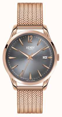 Henry London Finchley Roségold Netz graues Zifferblatt HL39-M-0118