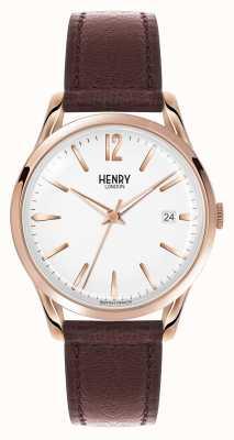 Henry London Richmond braunes Lederband weißes Zifferblatt HL39-S-0028