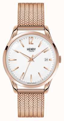 Henry London Richmond Rosé vergoldetes weißes Zifferblatt HL39-M-0026