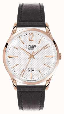 Henry London Richmond schwarzes Lederband weißes Zifferblatt HL41-JS-0038