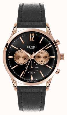 Henry London Richmond schwarzes Lederarmband Chronograph HL41-CS-0042