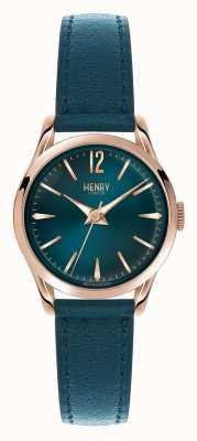 Henry London Stratford blauen Lederband blaues Zifferblatt HL25-S-0128