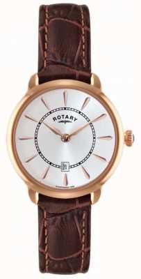 Rotary Damen braunes Lederarmband Uhr LS02919/03