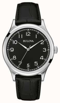 Bulova Herren klassisch schwarzes Lederarmband 96B233