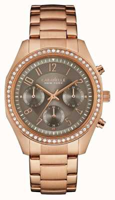 Caravelle New York Damen Rotgold Kristall Chronograph 44L195