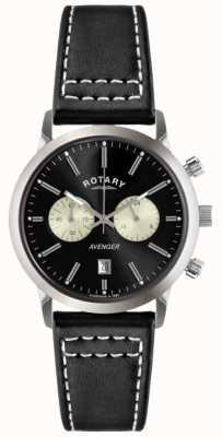 Rotary Mens Rächers schwarzes Lederband Chrono GS02730/04