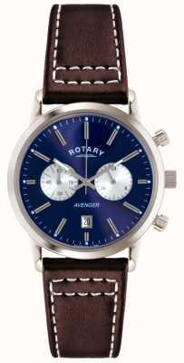 Rotary Mens Rächers braunes Lederband Chrono GS02730/05