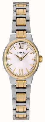 Rotary Der Frauen zwei Ton Armband weißes Zifferblatt LB02747/01