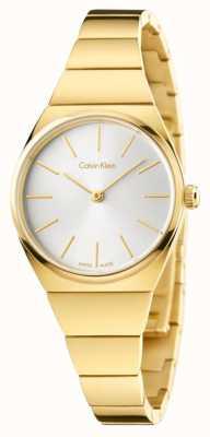 Calvin Klein Der Frauen oberste gold PVD beschichtet Zifferblatt silber K6C23546