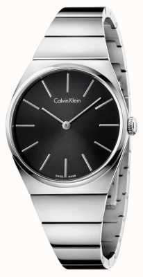 Calvin Klein Womens Supreme Edelstahl schwarzes Zifferblatt K6C2X141