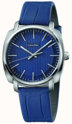 Calvin Klein Mens highline blauen Lederband blaues Zifferblatt K5M311VN