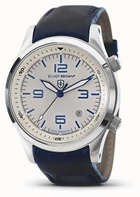 Elliot Brown Mens Canford blaues Leder weißes Zifferblatt 202-001-L06