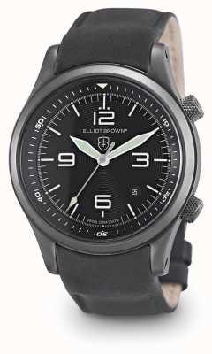 Elliot Brown Mens Canford schwarzes Leder schwarzes Zifferblatt 202-004-L10