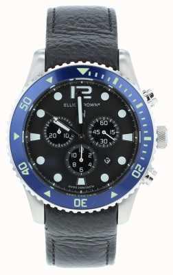 Elliot Brown Herren Bloxworth benutzerdefinierte schwarz Leder blau Zifferblatt 929-003