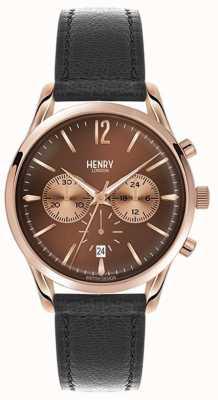 Henry London Unisex Legge schwarzes Lederband braunes Zifferblatt HL39-CS-0054