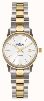 Rotary Damen Rächerin zwei Ton Armband weißes Zifferblatt LB02736/02