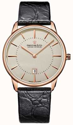 Dreyfuss Herren schwarz Leder Uhr DGS00139/46
