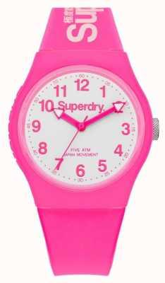 Superdry Unisex städtischen rosa Gummiband weißen Zifferblatt SYG164PW