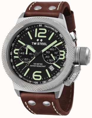 TW Steel Mens Kantine 50mm Chrono braunes Lederarmband CS24