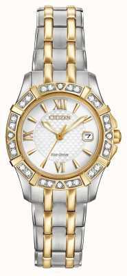 Citizen Eco-Drive 28 Diamanten der Frauen mit zwei Tönen EW2364-50A