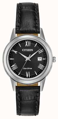 Citizen Damen Eco-Drive-Lederband Zifferblatt schwarz FE1081-08E