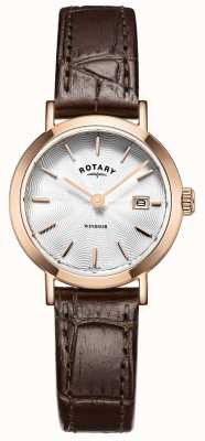 Rotary Damen braunes Lederarmband silbernes Zifferblatt LS05304/02
