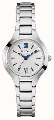 Bulova Damen Silber Band weißes Zifferblatt 96L215