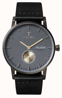 Triwa Mens FALKEN schwarzes Lederband Zifferblatt grau FAST102-CL010113