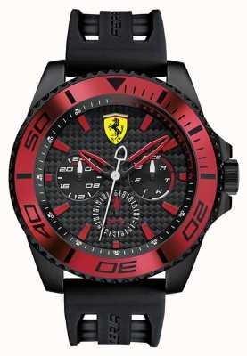 Scuderia Ferrari Mens schwarzes Kautschukband Zifferblatt schwarz rot Detail 0830310