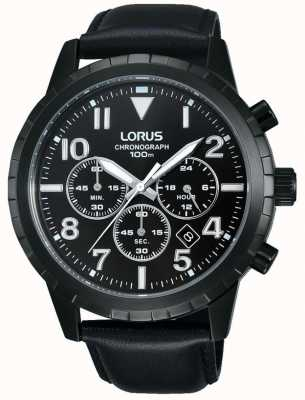 Lorus Mens schwarz Chronograph schwarzes Lederarmband RT365FX9