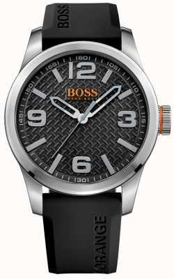 Hugo Boss Orange Mens paris schwarzes Kautschukband Zifferblatt schwarz 1513350