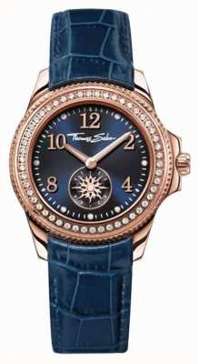 Thomas Sabo Womans blauen Lederband blaues Zifferblatt WA0216-270-209-33
