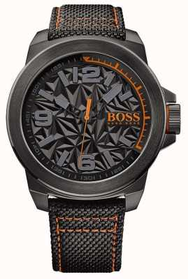 Hugo Boss Orange plattierten Mens schwarz graues Muster Zifferblatt Band 1513343