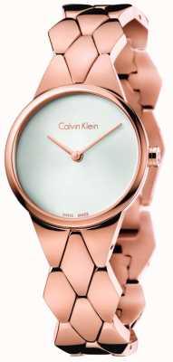 Calvin Klein Frauen Schlange Roségold pvd Armband silbernes Zifferblatt K6E23646