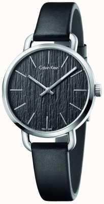 Calvin Klein Frauen sogar schwarzes Lederband Zifferblatt schwarz K7B231C1