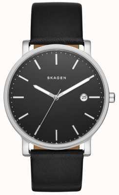 Skagen Mens hagen schwarzes Lederband Uhr SKW6294