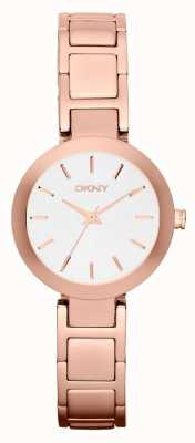 DKNY Womans weißes Zifferblatt Rotgold Band NY2400