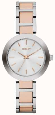 DKNY Womans weiße Zifferblatt mit zwei Tönen Band NY2402