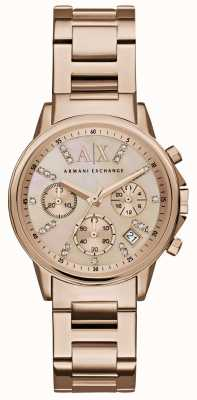 Armani Exchange Womans Rotgold Chronograph Zifferblatt Gold Metallband Rose AX4326