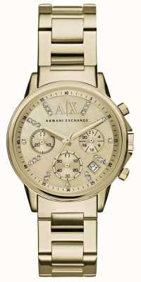 Armani Exchange Womans Gold Chronograph Zifferblatt Gold Metallband AX4327
