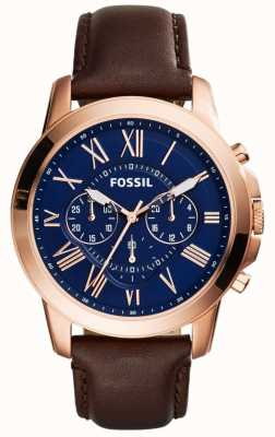 Fossil Mens Marine Chronograph Zifferblatt braunes Lederarmband FS5068