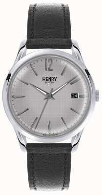 Henry London Herren-silbernes Zifferblatt schwarz Lederband HL39-S-0075