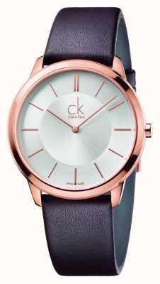 Calvin Klein Mens minimal braunes Lederarmband K3M216G6