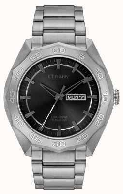 Citizen Herren-Titan-Armband schwarzes Zifferblatt AW0060-54H