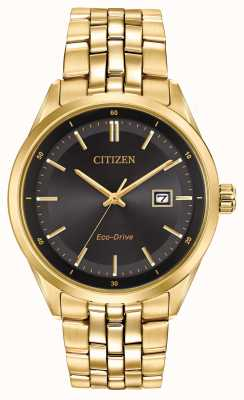 Citizen Mens Gold PVD beschichtet Armband schwarzes Zifferblatt BM7252-51E